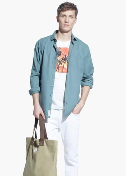 修身织纹棉质衬衫 | MANGO MAN