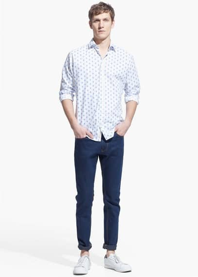 Slim-fit ikat-print shirt | MANGO MAN