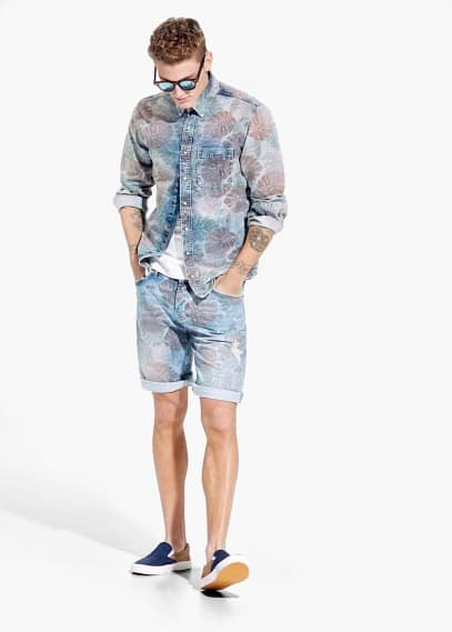 Denim slim-fit overhemd met tropische print