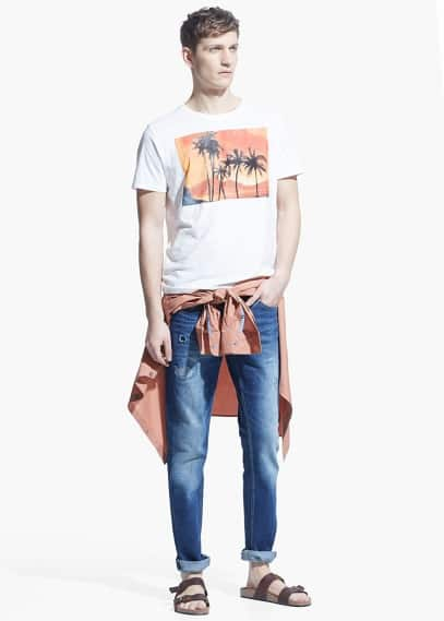 Palm image t-shirt | MANGO MAN