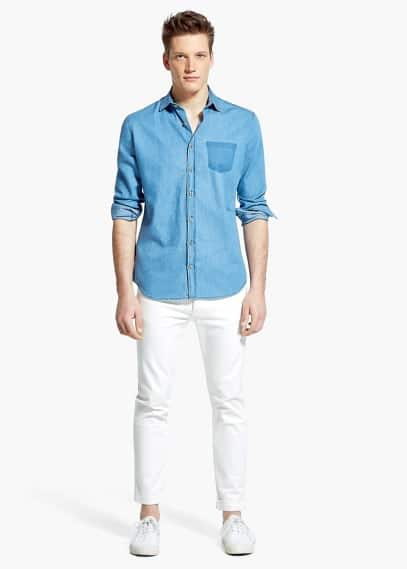 Slim fit chambray-hemd, tasche | MANGO MAN