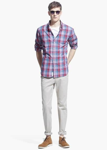 Slim-fit prince of wales shirt | MANGO MAN