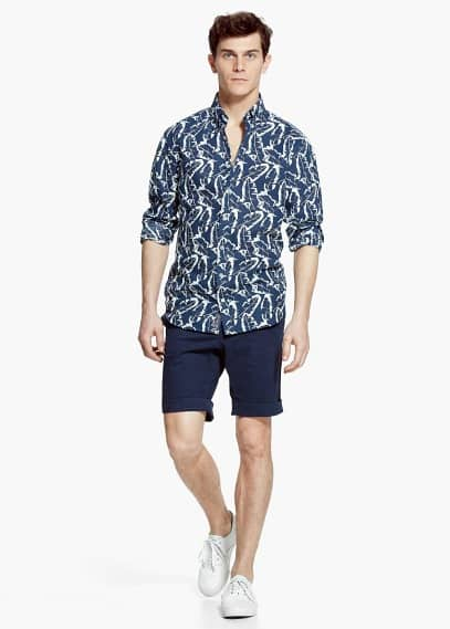 Slim-fit leaf-print linen shirt | MANGO MAN