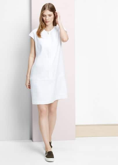 Zip linen dress | VIOLETA BY MANGO