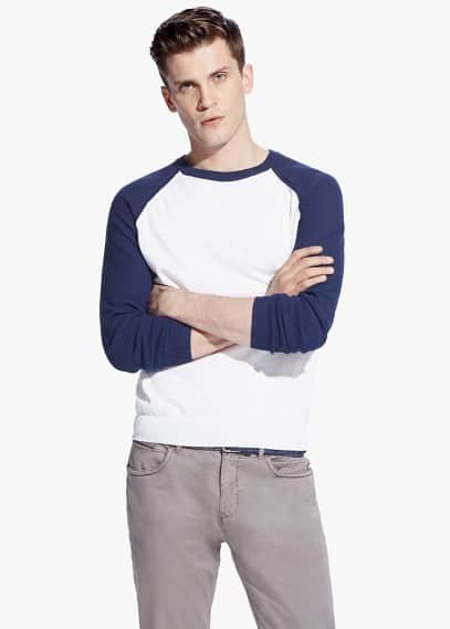 Contrast sleeve sweater | MANGO MAN