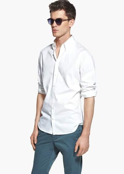 Slim-fit rhombus-texture shirt | MANGO MAN