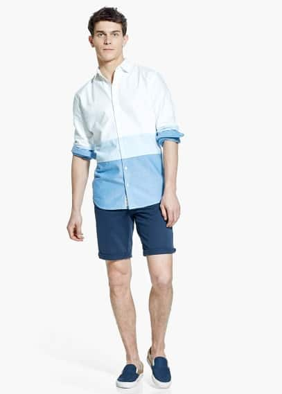 Slim-fit tricolor shirt | MANGO MAN