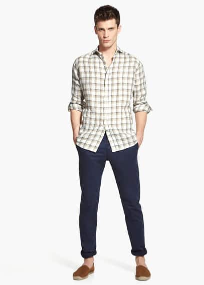 Chemise slim-fit lin carreaux madras | MANGO MAN