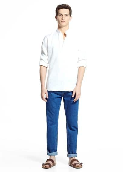 Classic-fit mao collar linen shirt | MANGO MAN