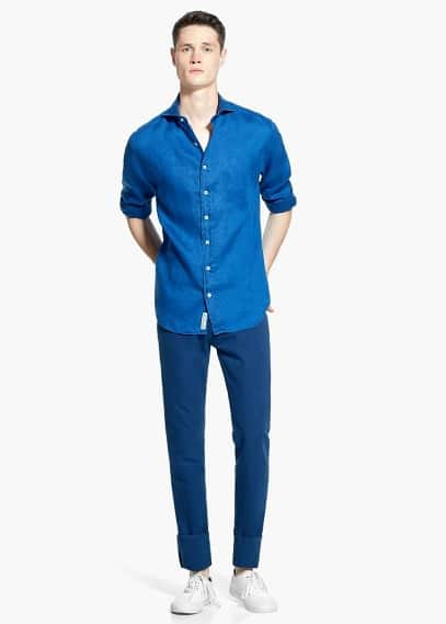 Slim-fit spread collar linen shirt | MANGO MAN