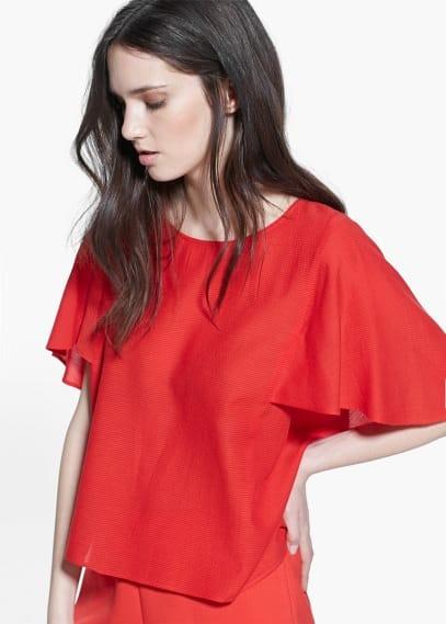 Блузка с широкими рукавами | MANGO