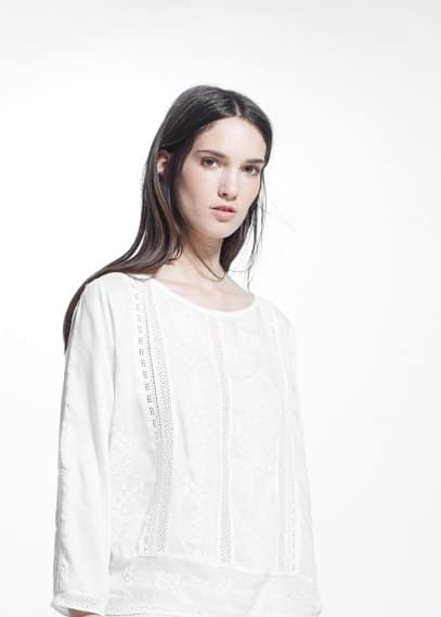 Embroidered modal blouse | MANGO