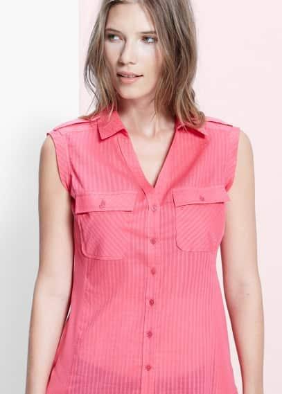Blusa algodón bolsillos | MANGO
