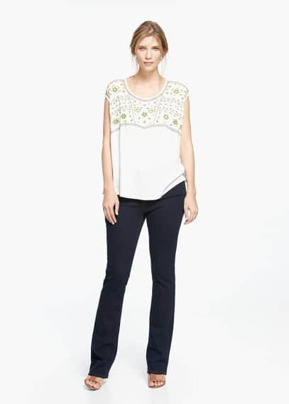 Embroidered panel blouse | VIOLETA BY MANGO