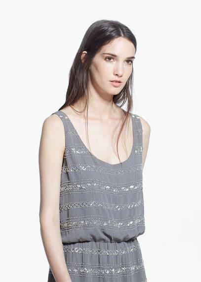Kleid mit perlenverzierung | MANGO