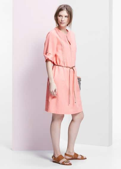 Pleated linen-blend dress | MANGO