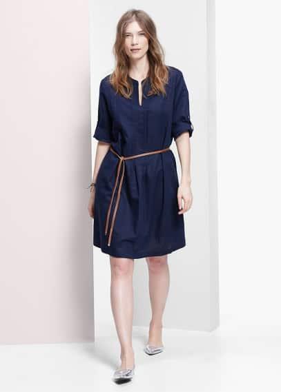 Φόρεμα λινό πιέτες | VIOLETA BY MANGO