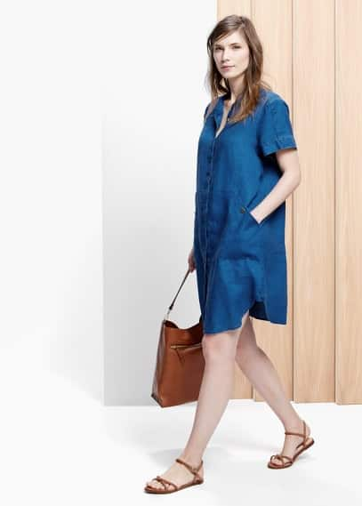 Linen flowy dress | VIOLETA BY MANGO
