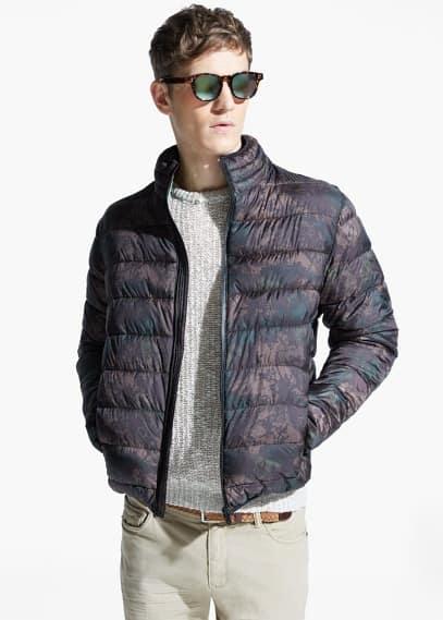 Waterdichte gewatteerde jas met camouflageprint | MANGO MAN