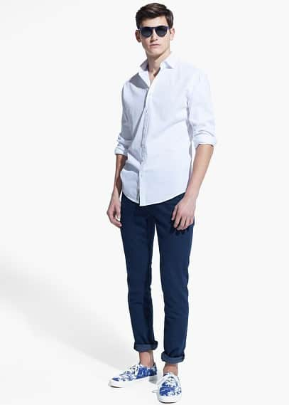 Slim-fit textured shirt | MANGO MAN