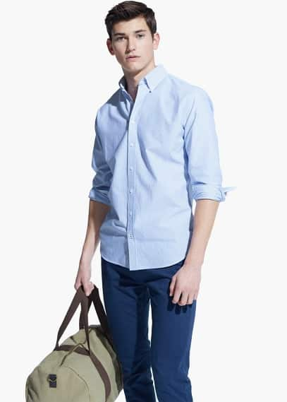 Slim-fit stripe-pattern shirt | MANGO MAN