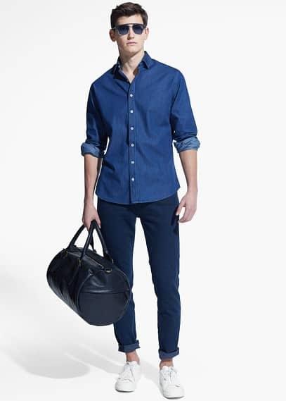 Slim Fit Hemd, Baumwoll-Chambray
