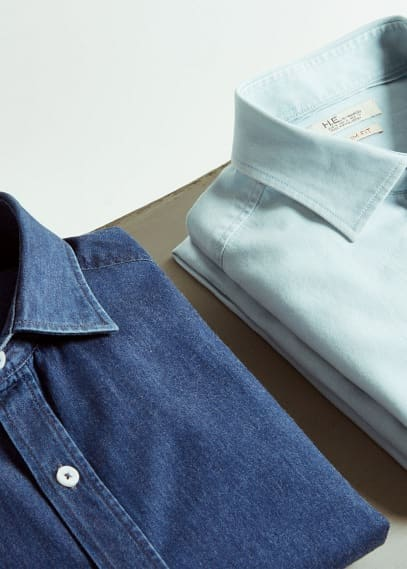 Slim-fit cotton chambray shirt | MANGO MAN
