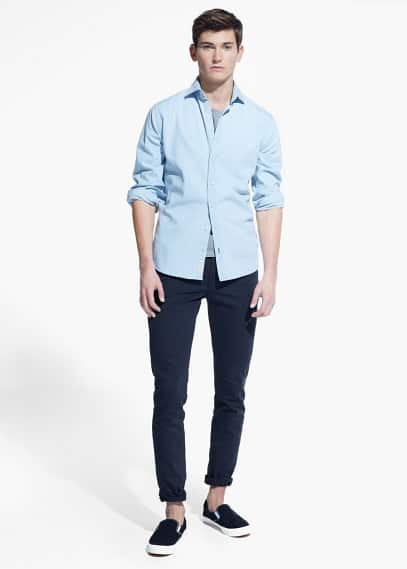 Slim fit hemd, baumwoll-chambray | MANGO MAN