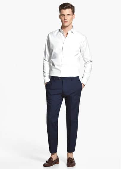 Slim fit tailored-hemd mit struktur | MANGO MAN