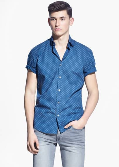 Slim-fit short-sleeve printed shirt | MANGO MAN