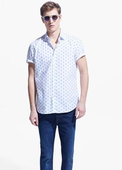 Slim-fit short-sleeve ikat-print shirt | MANGO MAN