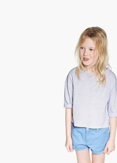 Camiseta rayas pespunteadas | MANGO