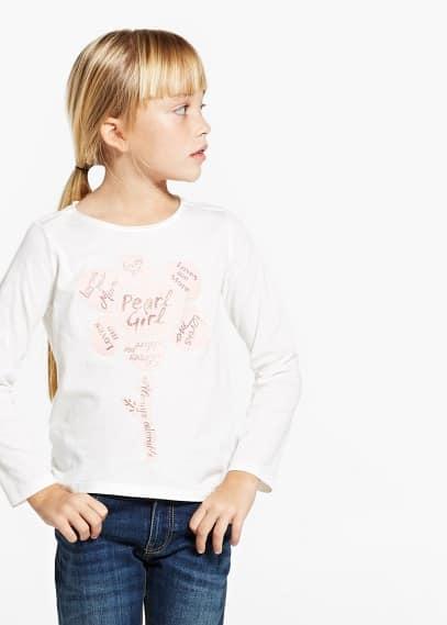 T-shirt flor purpurina | MANGO MAN