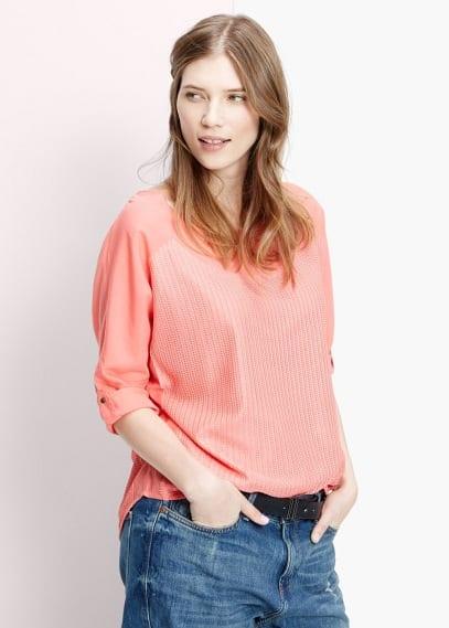 Herringbone panel blouse