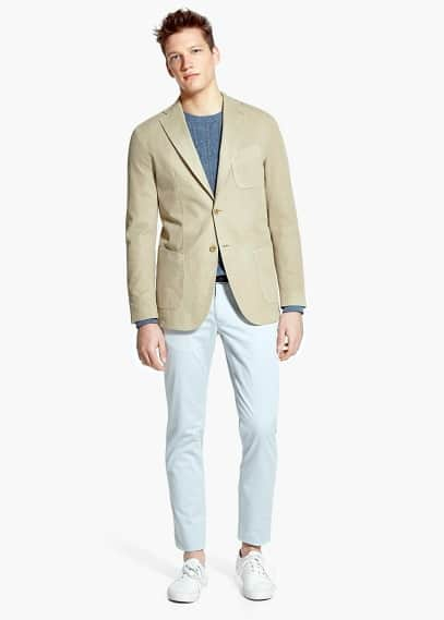 Canvas garment-dyed blazer | MANGO MAN