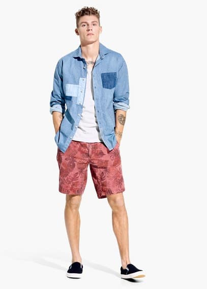 Slim fit patchwork-hemd, chambray | MANGO MAN