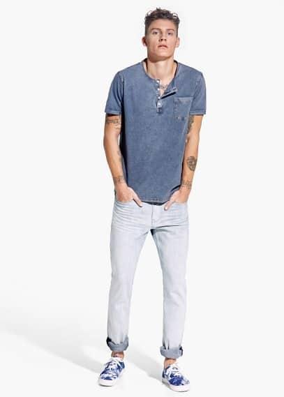 Henley-T-Shirt im Denim-Stil