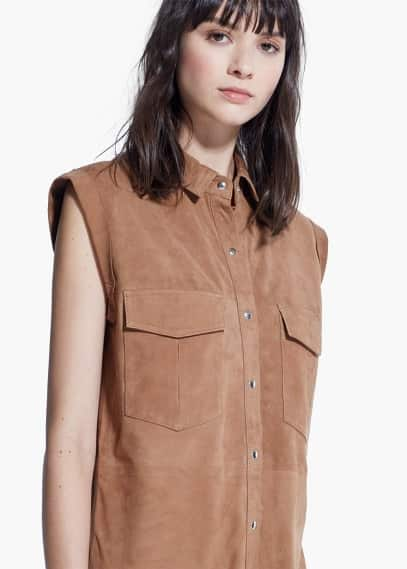 Suede shirt dress | MANGO