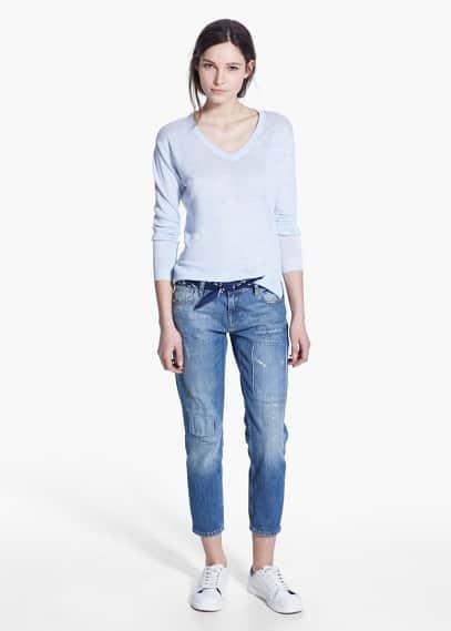 Fine-knit linen sweater | MANGO