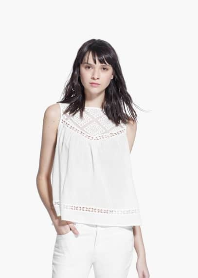 Crochet panel top | MANGO