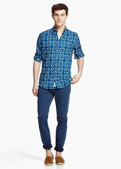 Slim-fit printed voile shirt | MANGO MAN