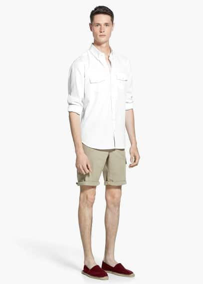 Slim-fit two-pocket textured shirt | MANGO MAN