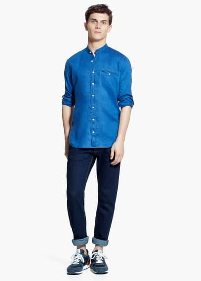 Camisa slim-fit lino cuello mao | MANGO MAN