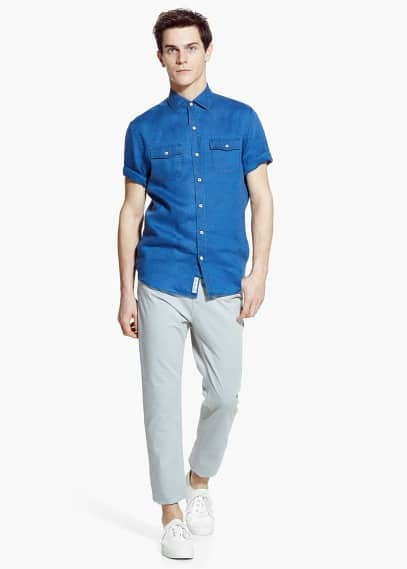 Slim-fit short-sleeve linen shirt | MANGO MAN