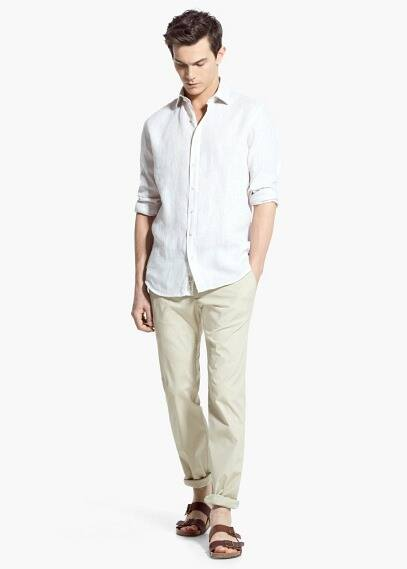 Slim fit striped linen shirt | MANGO MAN