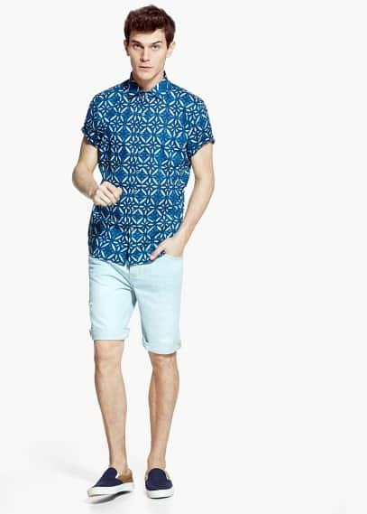 Slim-fit short-sleeve voile shirt | MANGO MAN