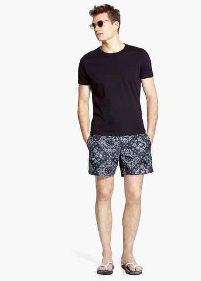Bandana-print swimsuit | MANGO MAN