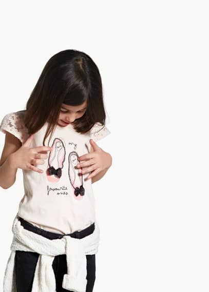 T-shirt mangas renda