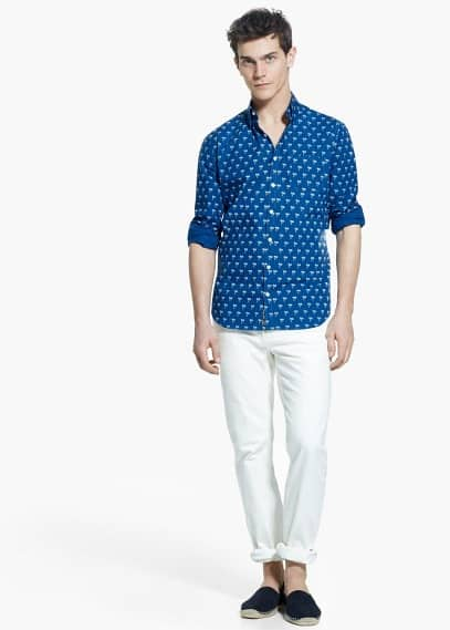 Slim-fit overhemd met palmprint | MANGO MAN