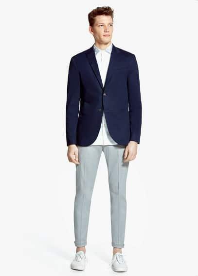 Пиджак с фактурной выделкой в ромбики | MANGO MAN
